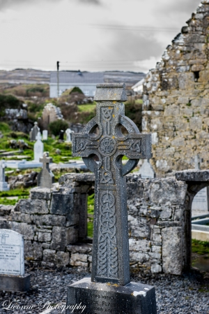 Celtic cross in graveyard