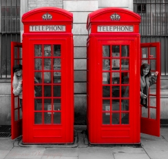 The girls in red phone booths